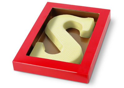 Chocolate Letter white stripe